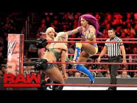 Bayley Sasha Banks & Dana Brooke vs. Charlotte Flair Nia Jax & Emma Raw April 3 2017