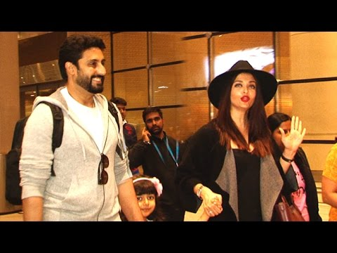 Airport Spotting 2nd Jan 2017 - Abhishekh,Aishwarya Rai With Daughter Aaradhya,Urvashi Rautela