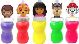 Learn Colors with Paw Patrol Dora Doc McStuffins Slime Surprise  Colours   Fizzy Fun Toys