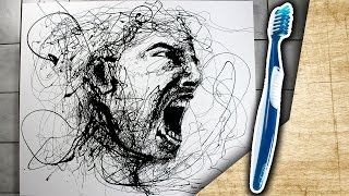 Speed painting with toothbrush 3 ! Drip Portrait | ARTgerecht #28