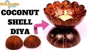 DIY | Coconut Shell Diya | Coconut Shell Art & Craft | DIYCrafts India #53