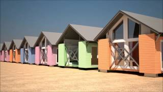 Retractable Movable Shipping Container Beach Bungalow