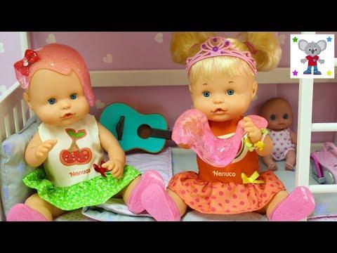 Rutina de Tarde Bebés Nenuco HERMANITAS TRAVIESAS Juegan con Bebés de Juguete y con Slime