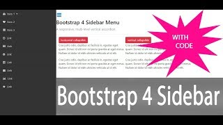 Bootstrap 4 sidebar menu with submenu responsive  with code 2018