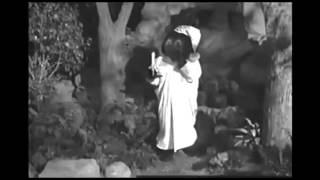 The Bear from Barney's Campfire Sing Along is Scarier in Black and White