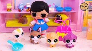 LOL Surprise Girl Gets New Pet at Pet Shop - Blind Bag Toy Video