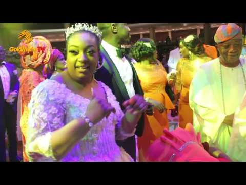 OBASANJO DANCES WITH HIS SON AND WIFE AT WEDDING RECEPTION
