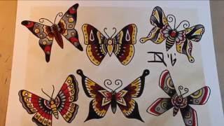 Traditional Butterflies - Tattoo Flash Painting