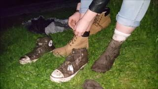 Celina: Fresh socks and shoes after playing in mud (part 10 of muddy socks and shoes series)