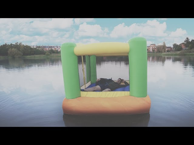 I Spent the Night on a Lake in a Bouncy Castle & It Was Too Much Fun (Sleep on a Lake Challenge)