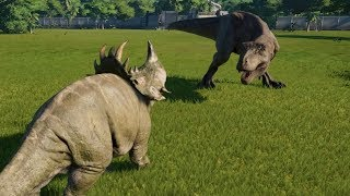 2 Sinoceratops(Modifed) VS T-rex, I-Rex, Spinosaurus, Carnotaurus and Allosaurus - JWE