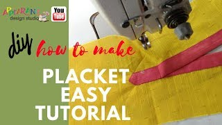 how to make placket easy tutorial diy shrt placket😋