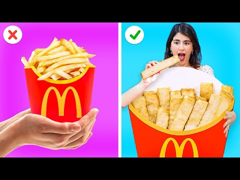 EATING ONLY GIANT FOOD CHALLENGE Cool Hacks With Your Favorite Food by 123 GO GOLD