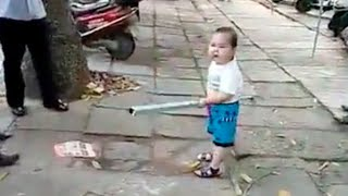 Toddler Uses Steel Pipe To Defend His Grandma (VIDEO)