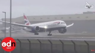 Dramatic moment plane aborts landing at Heathrow
