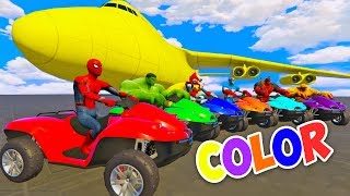 LEARN COLOR with ATV on BIG PLANE & Spiderman Cartoon for Kids with Cars Superheroes for children