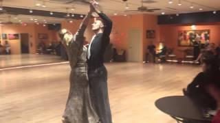 Miriam and Andrea dancing slow waltz at  Arthur Murray Naples Christmas Showcase 2015