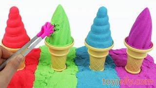 DIY How to Make Kinetic Sand Ice Cream Learn Colors Peppa Pig Tayo Pikachu Paw Patrol Cookie Cutters