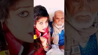 Indian girl kissing old man