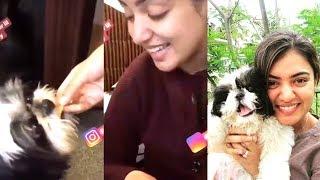 Nazriya Nazim Giving Dosa (FOOD) to her Pet Dog