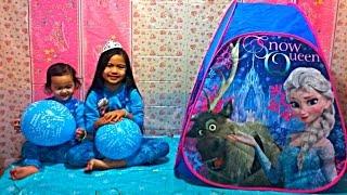 DISNEY FROZEN Videos Super Cool Playtent Surprise Elsa Anna Let It Go Sing Along Balloon Surprise