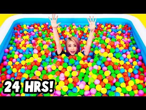 Spending 24 Hours In 10 000 Balls