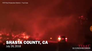 Fire tornado in Shasta County,CA wildfire