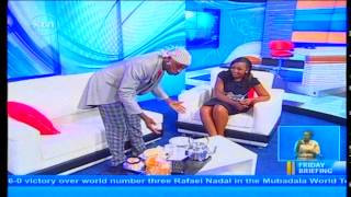 Nyambane and Betty Kyalo create a comical scene in studio
