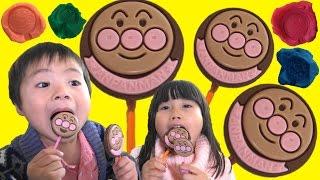 アンパンマン BIG ペロペロチョコレート ねんどスタンプしたよ♫ Anpanman Lollipop Chocolates