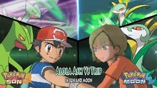 Pokemon Sun and Moon: Ash Vs Trip (Ash's Sceptile Vs Serperior)