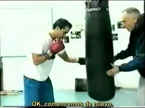 Lecciones de Boxeo Ejercicios en el saco de box.