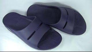 OOFOS OOahh Navy Slide Sandals