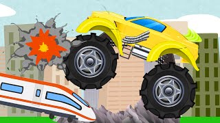 monster truck | stunts and chase | kids video