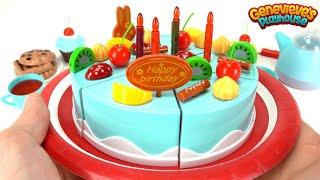 Velcro Cutting Cake Happy Birthday Toy Cake for Kids: Preschool Toy Fruit Strawberry Orange Cake