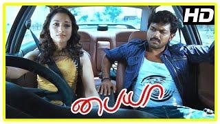 Paiya Tamil Movie Scenes | Tamanna helps Karthi with the car | Tamanna shocks Karthi | Lingusamy