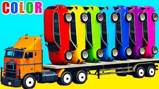 COLOR CARS on Truck in Cartoon for kids and toddlers with Nursery Rhymes