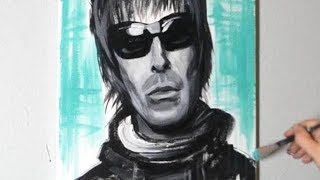 Painting Liam Gallagher from Oasis in Acrylic Paints on Canvas