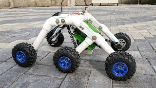 How to Make a Rocker bogie Robot at Home - Stair climbing car