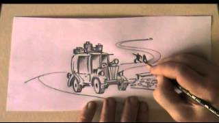 How to draw a car and a winding road. Fast pencil drawing