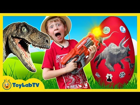 GIANT Life Size Raptor Attacks LB Dinosaur Surprise Egg w Dino Kid Family Game Toys & Gummy Candy
