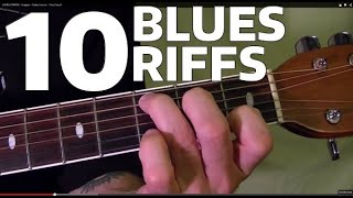 10 MUST LEARN Blues Guitar Riffs - Easy!