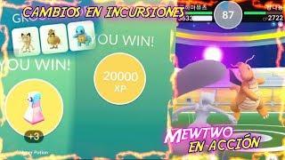 CAMBIOS en INCURSIONES & MEWTWO COMBATIENDO GYMS (GAMEPLAY) - Pokemon Go!