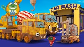 Cleaning Muddy Construction Trucks in the Car Wash with Gecko's Garage | Diggers for Children