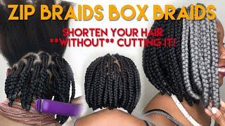 BOB BOX BRAIDS ON LONG HAIR!!! (#GhanaZipBraids)