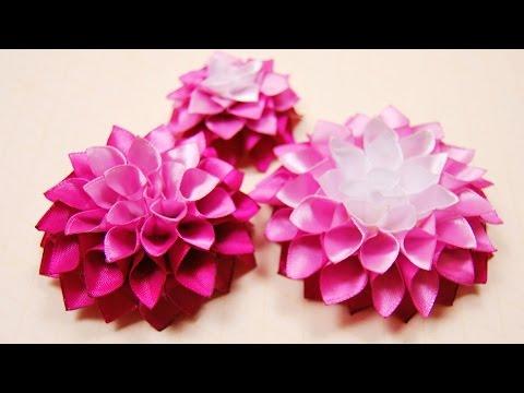 Объемные цветы из ленты