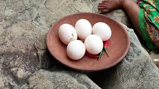 Survival skills:find bamboo shoots    by hand  - cook with egg duck   eating delicious #41