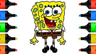 How to Draw Spongebob Coloring Pages for Kids Learn Colors for Baby Kid and Toddlers