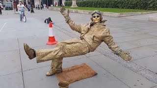Secret revealed London street performer, floating and levitating trick