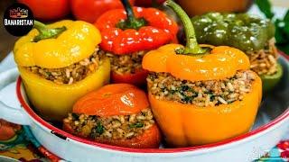 Rice Filled Bell Peppers - DOLMA // طرز تهیه دلمه مرچ دلمه ای/دلمه فلفل دلمه ای