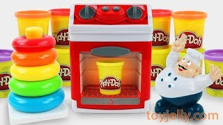 Learn Colors Play Doh Donuts Hamburger Chef Stack up toy Baby Microwave Oven Playset Nursery Rhymes